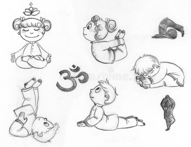 Yogaungar vektor illustrationer