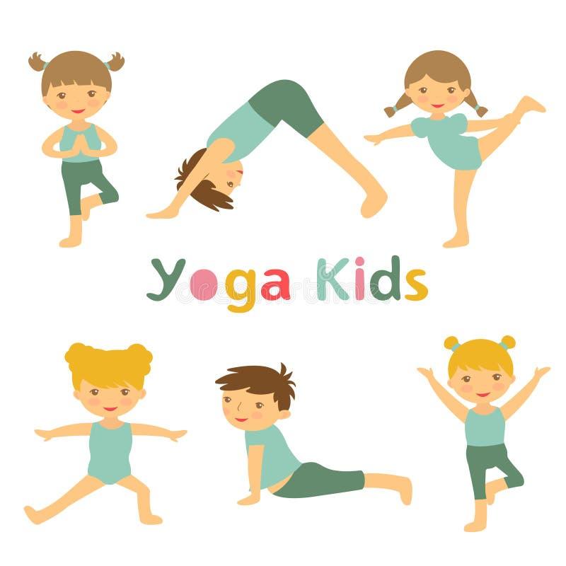 Yogaungar stock illustrationer