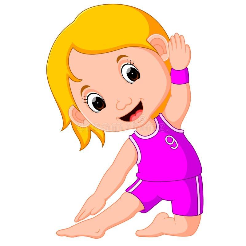 Yogaungar Gymnastiskt för barn och sund livsstil royaltyfri illustrationer