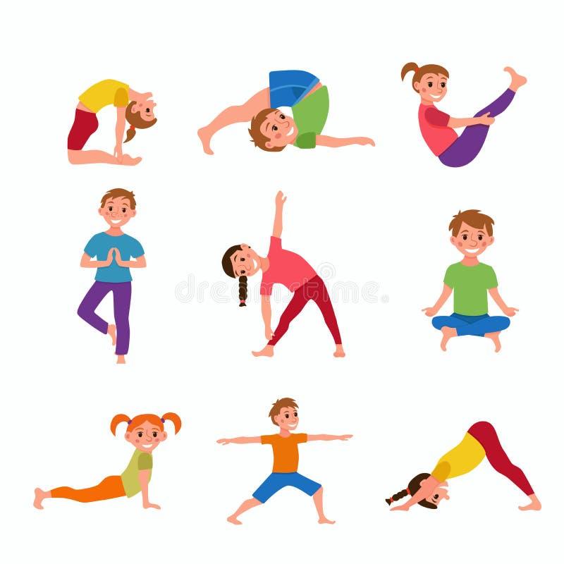 Yogaungar poserar stock illustrationer