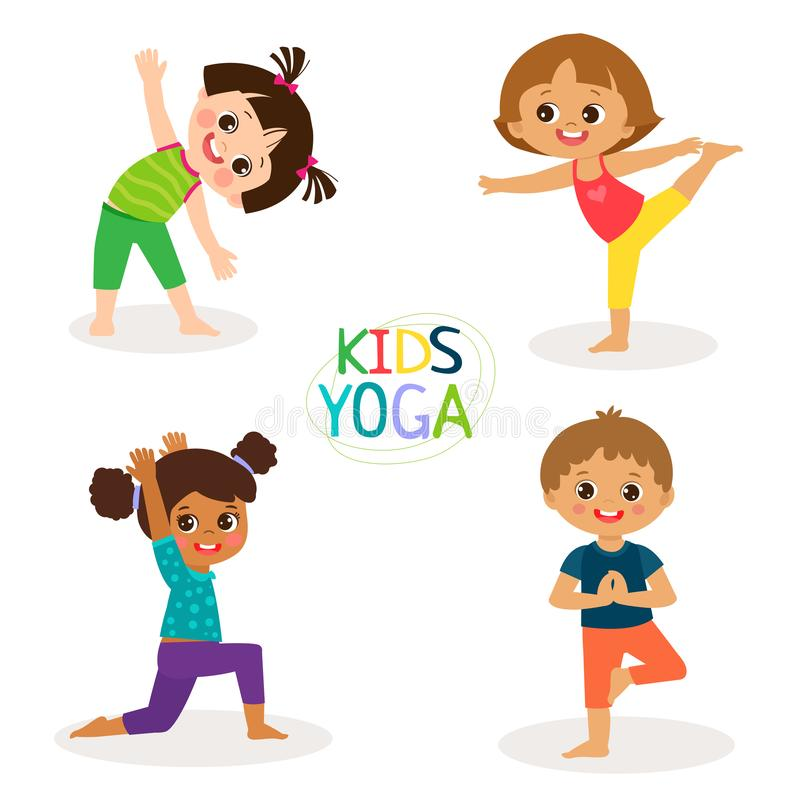 Yogaungar poserar vektortecknad filmillustrationen Små flickor och pojkar som gör yogauppsättningen stock illustrationer