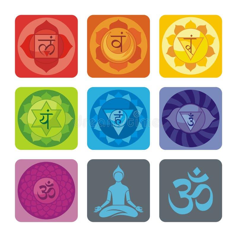 Yogauppsättning royaltyfri illustrationer