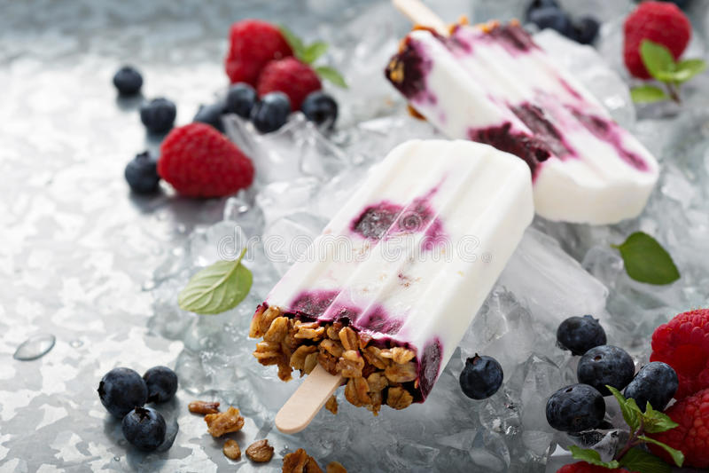 Yoghurt-, bär- och granolafrukostisglassar royaltyfria foton