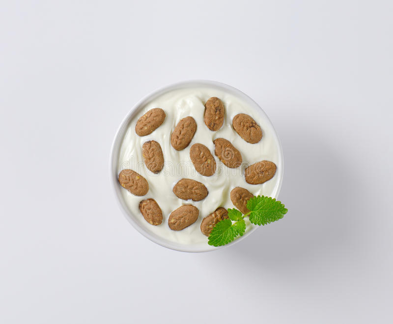Yoghurt with chocolate breakfast biscuits stock image