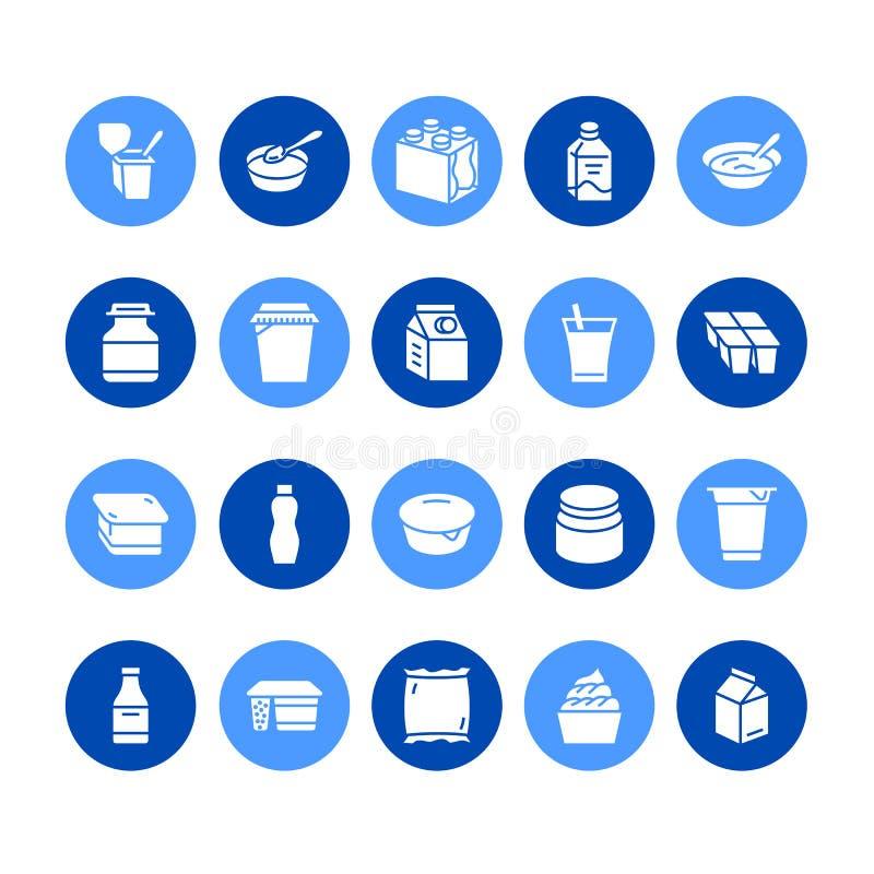 Yoghurt die vlakke glyph vectorpictogrammen verpakken Zuivelproducten - melkfles, zure room, kefir, kaasillustraties tekens royalty-vrije illustratie