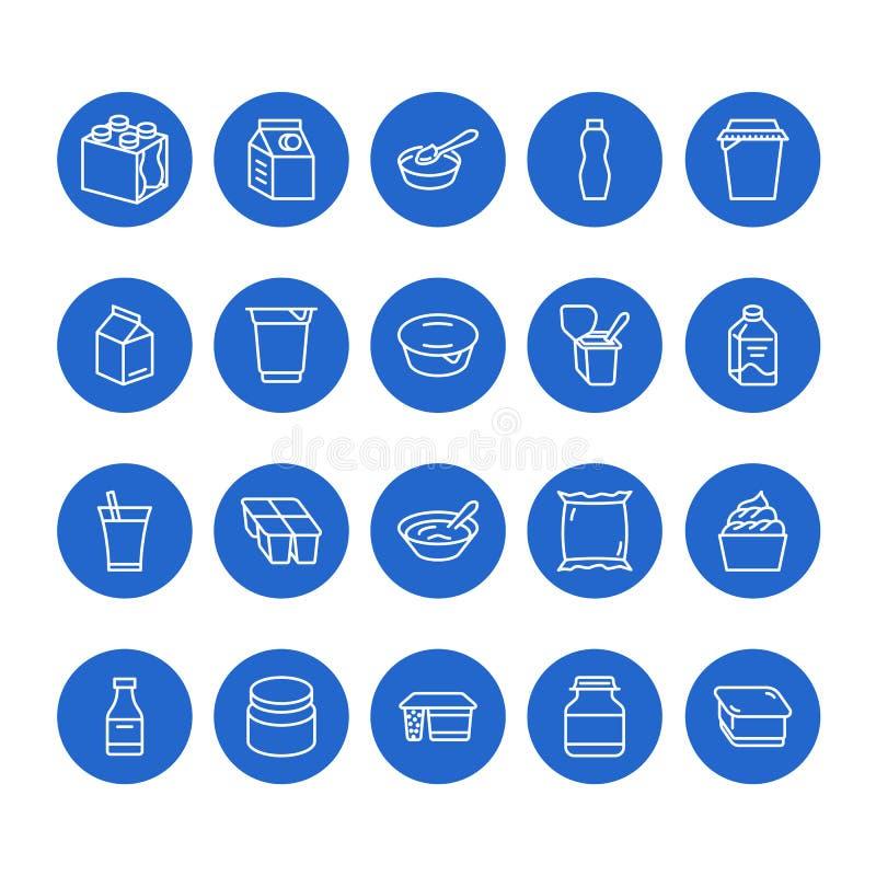 Yoghurt die vlakke lijnpictogrammen verpakken Zuivelproducten - melkfles, room, kefir, kaasillustraties Dunne blauwe tekens voor vector illustratie