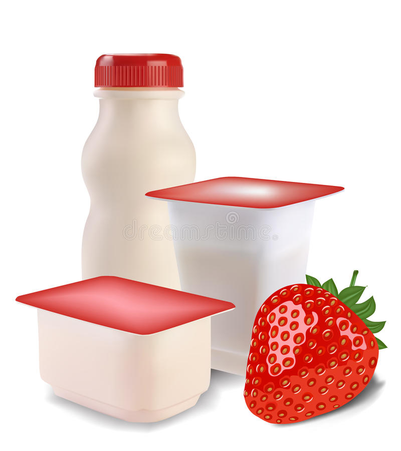 Yoghurt en aardbeien stock illustratie