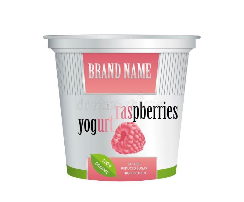 Yoghurt f?r f?rpackande design med hallon Vektor som isoleras p? vitbakgrund Plast- beh?llare f?r hallonyoghurt och desser vektor illustrationer