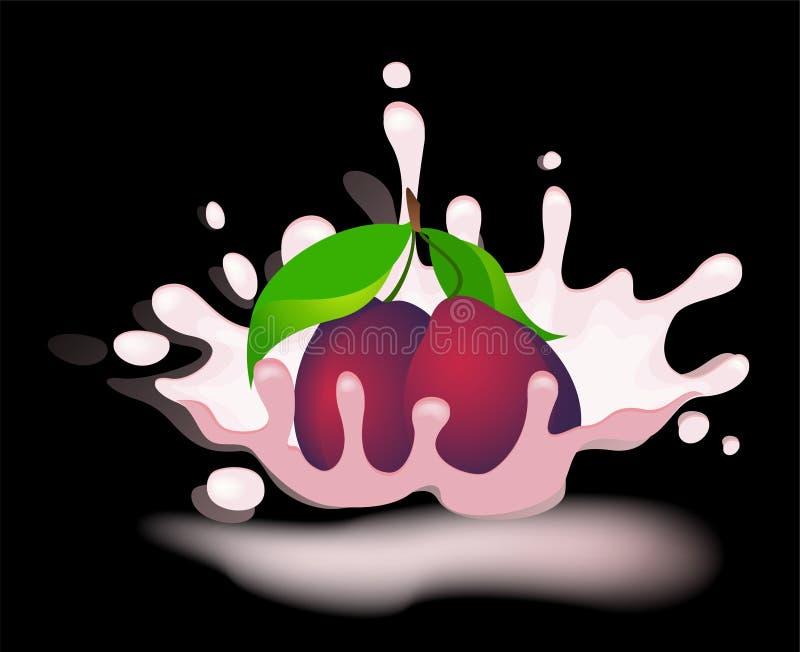 Yoghurt with fresh plum royalty free illustration