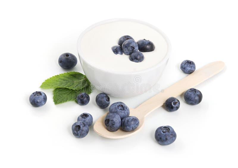 Yoghurt med blåbär arkivfoto