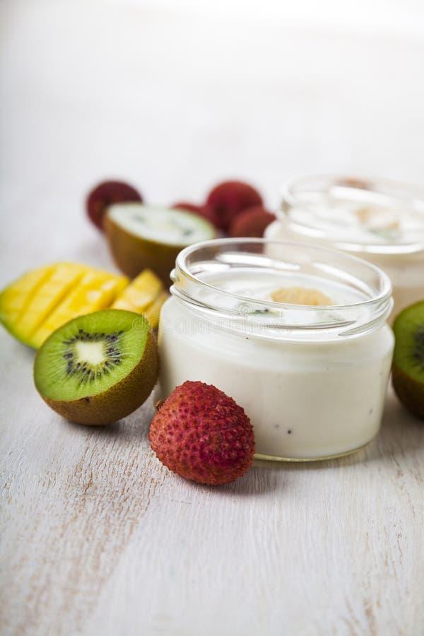 Yoghurt med tropiska frukter arkivfoton