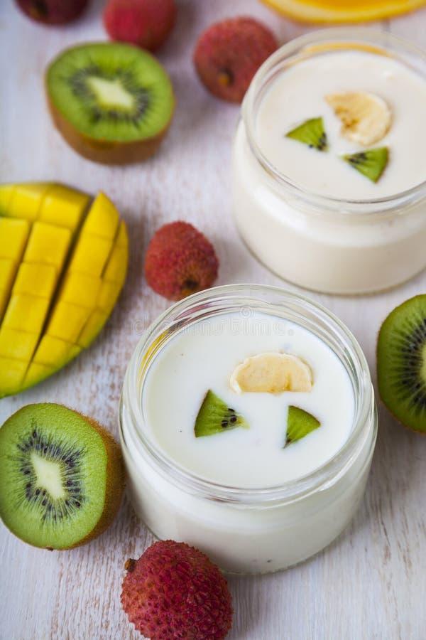 Yoghurt med tropiska frukter arkivfoto