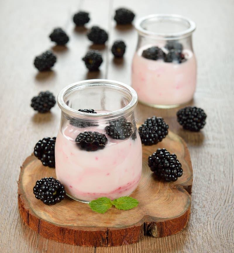 Yoghurt met braambessen stock fotografie