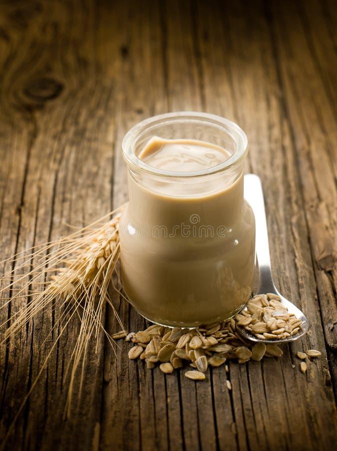 Yoghurt met graangewassen royalty-vrije stock afbeeldingen