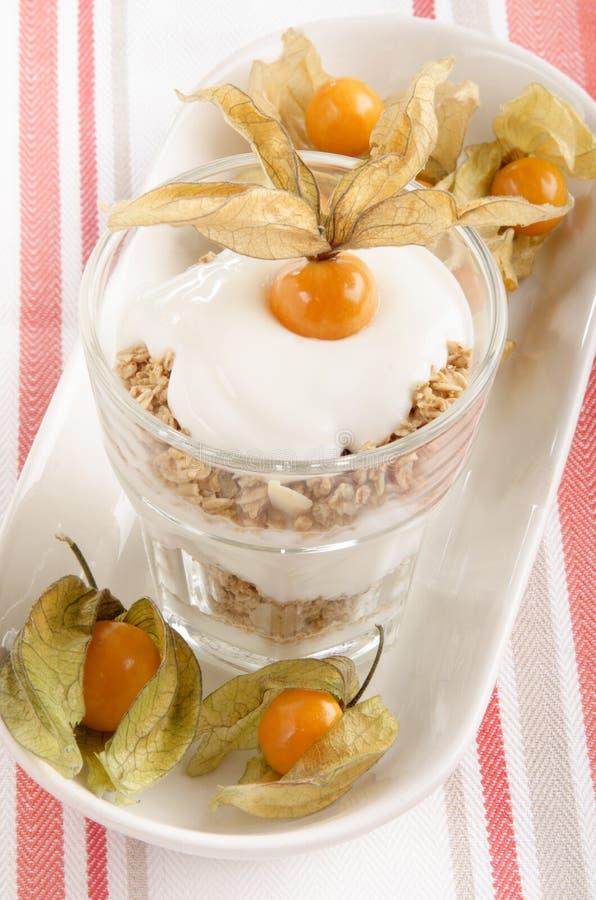 Download Yoghurt Met Physalis In Een Glas Stock Afbeelding - Afbeelding bestaande uit keuken, handdoek: 39103545