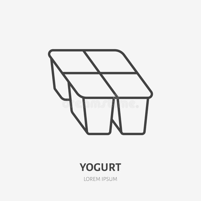 Yoghurt, vlak lijnembleem, zure room vectorpictogram Zuivelproductillustratie Teken voor gezonde voedselopslag vector illustratie