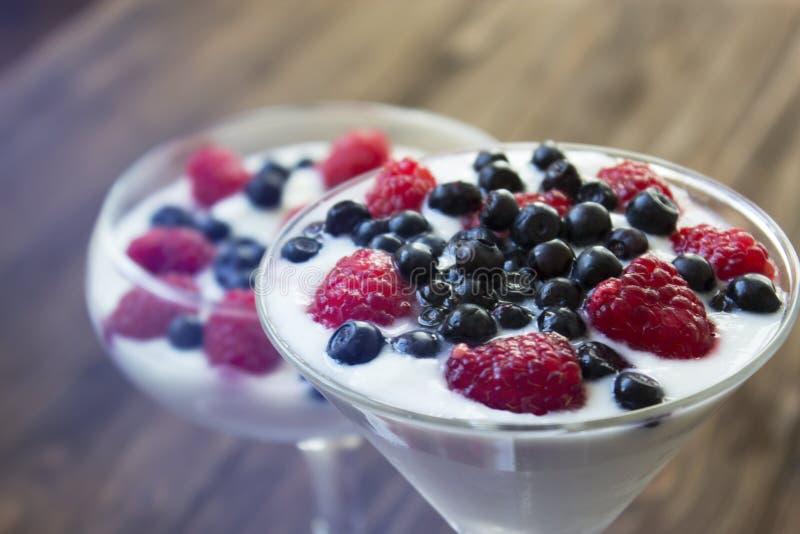 Yoghurtefterrätt med hallon och blåbär royaltyfri fotografi