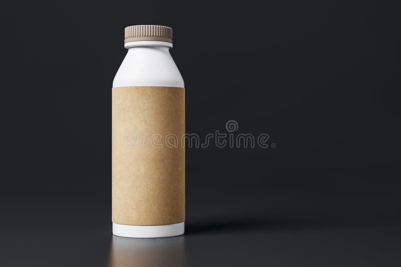 Yoghurtfles met leeg bruin etiket vector illustratie