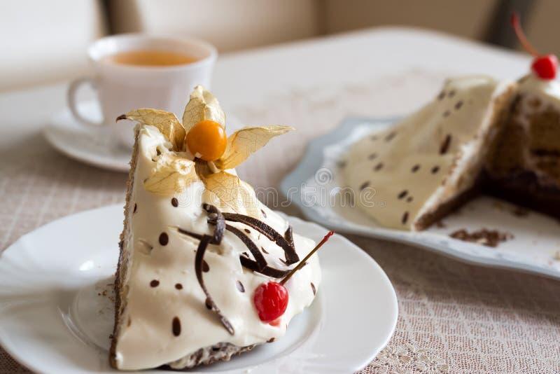 Yoghurtkaka med choklad och körsbär royaltyfria foton