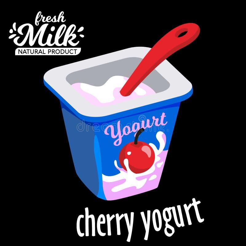 Yoghurtkop met een Vectorillustratie van het lepel vlakke pictogram royalty-vrije illustratie