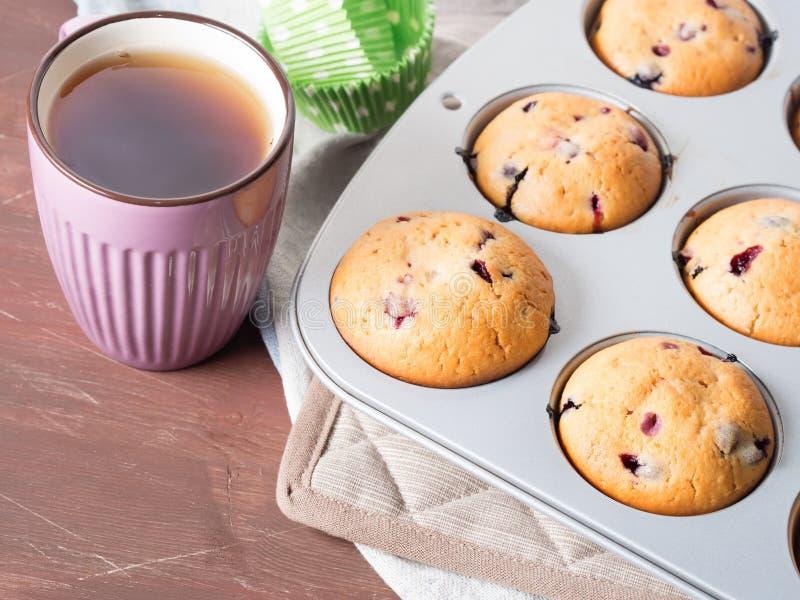 Yoghurtmuffin med bär arkivfoto