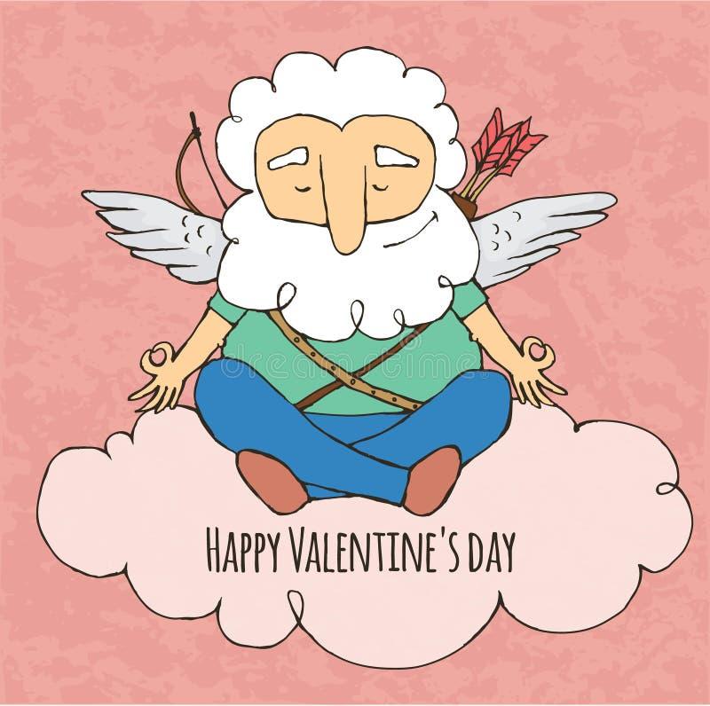 Yogi купидона смешной Сидеть в позиции йоги Валентайн дня s иллюстрация штока