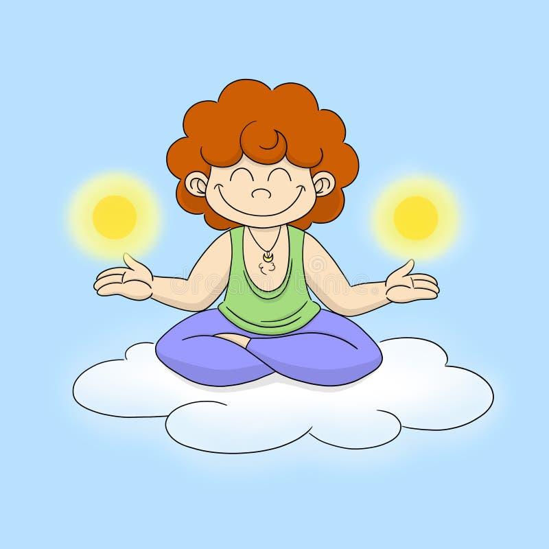 Yogi avec les soleils sur un nuage illustration de vecteur