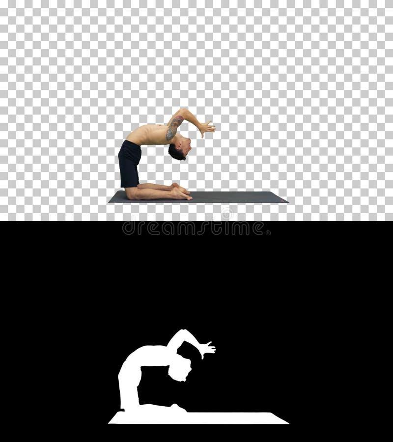 Yogi che fanno posa di yoga del cammello, Alpha Channel fotografie stock