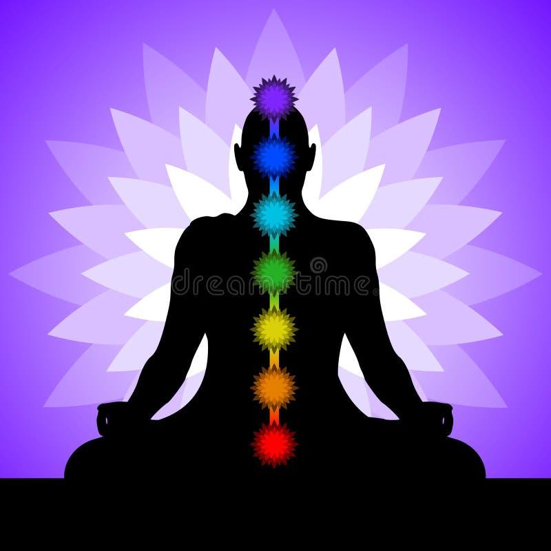 Yogi con i chakras illustrazione vettoriale