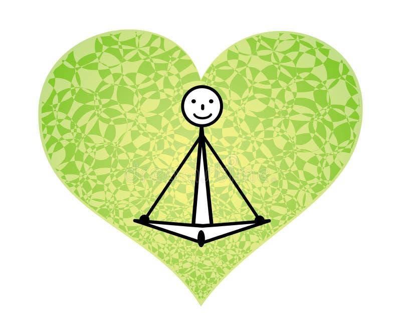 Yogi dans un asana de lotus sur un fond d'un coeur vert Illustration de vecteur Graphiques schématiques illustration stock