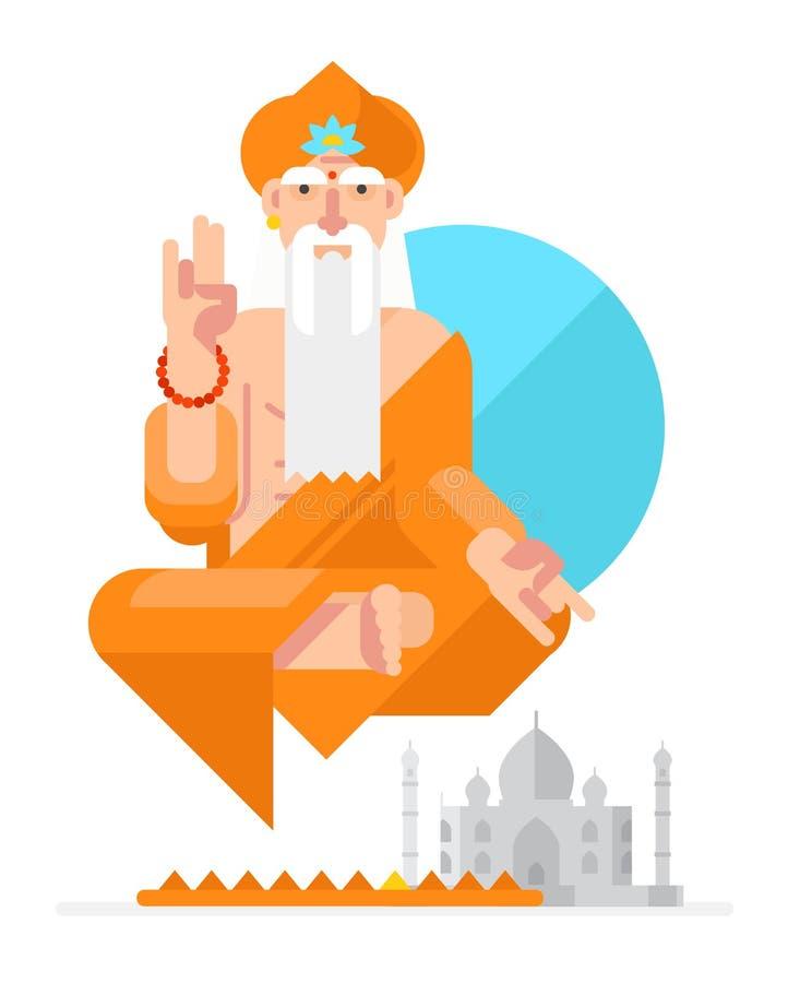 Yogi i stilen av tecknade filmen för objektbana för bakgrund clipping isolerad white Plan illustration Teckendesign Yogi i lotusb stock illustrationer