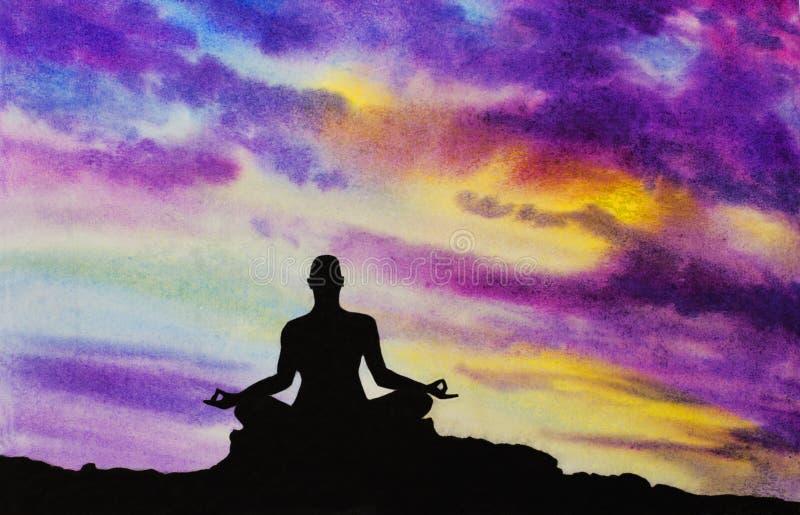 Yogi in the lotus position. Yogi meditates in the lotus position stock illustration