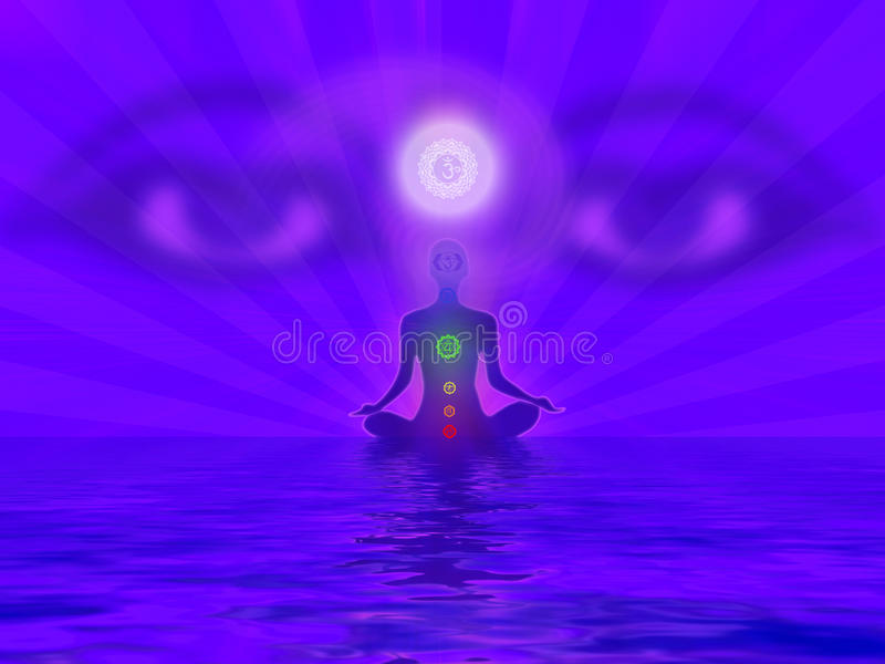Yogi meditating. With the all seeing eyes of Buddha vector illustration