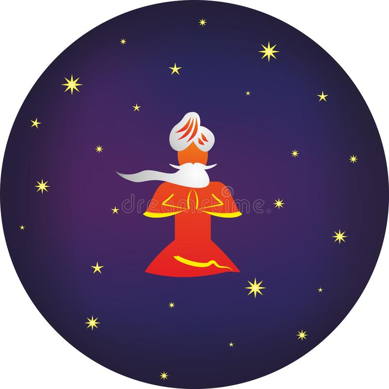 Yogi nella posizione di loto Chiarimento con gli srars nello spazio royalty illustrazione gratis