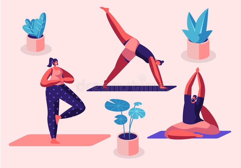 Yogi Women Group Doing Yoga Exercises on Mats at Studio. Fitness, Sport and Healthy Lifestyle Concept, Personal Trainer. People Practicing Yoga, Workout Class stock illustration