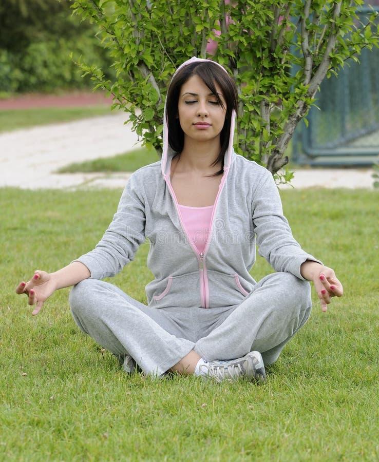 Yogo gymnastic and meditation royalty free stock photos