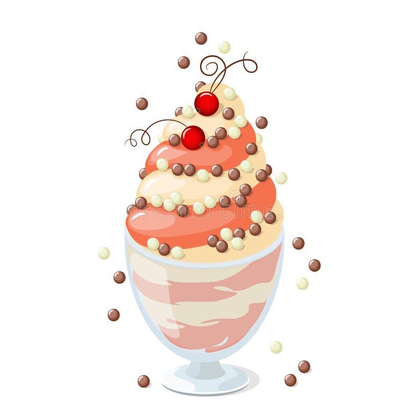 yogourt glacé de groseille sur le blanc illustration stock