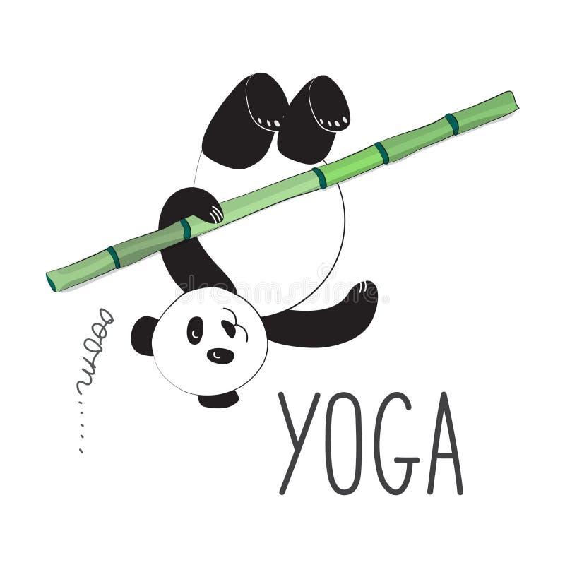 Yogui de la panda que hace ejercicio en bambú Ejemplo del vector de la panda en estilo del espacio Etiqueta engomada fresca para  ilustración del vector