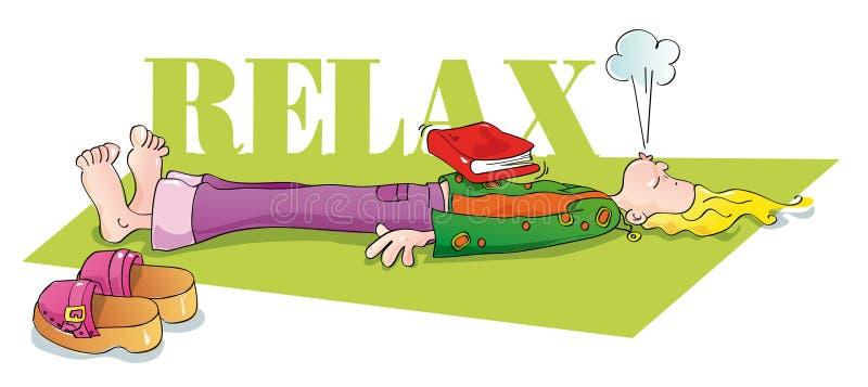 Yogui divertida que se relaja y que respira stock de ilustración