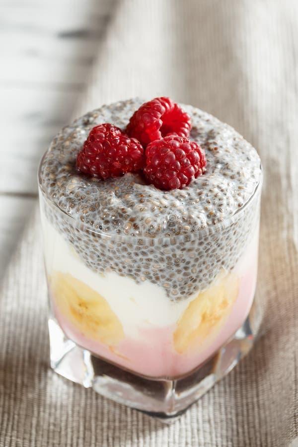 Yogur con el pudín y las frutas de la semilla del chia fotografía de archivo
