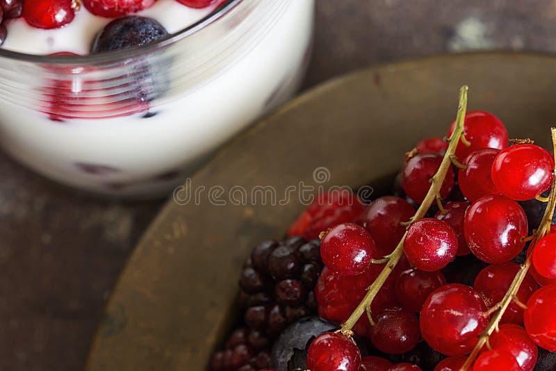 Yogur con las bayas, los arándanos y las frambuesas foto de archivo libre de regalías