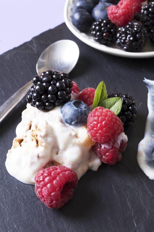 Yogur con las frutas imagen de archivo libre de regalías
