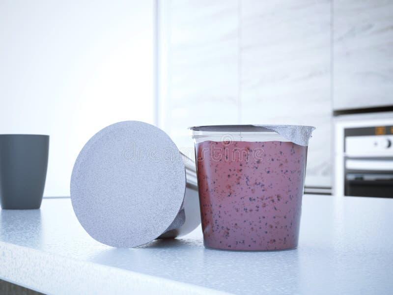 Yogur de la fresa fotografía de archivo