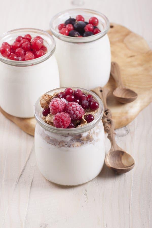 Yogur hecho en casa con los arándanos y las frambuesas congelados de las bayas fotografía de archivo