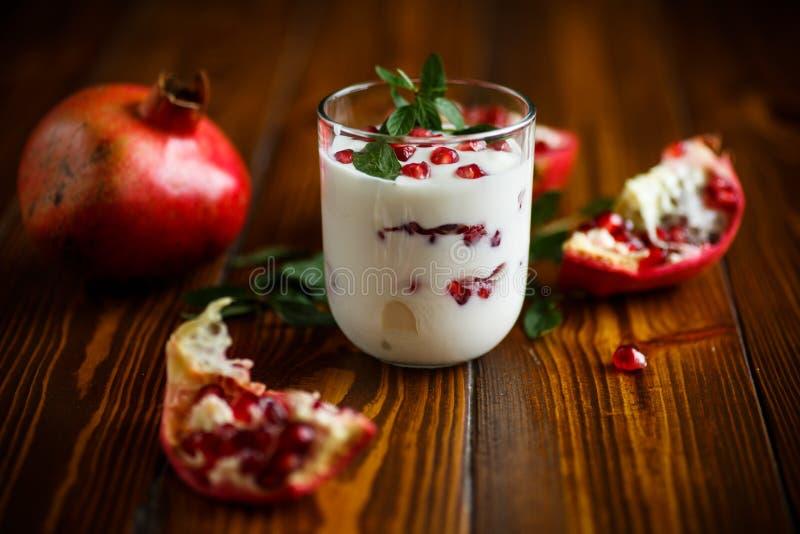 Yogur hecho en casa dulce con la granada imágenes de archivo libres de regalías