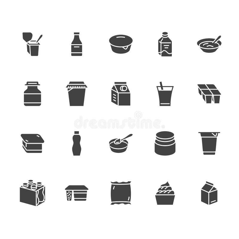 Yogur que empaqueta iconos planos del vector del glyph Productos lácteos - botella de leche, crema agria, kéfir, ejemplos del que ilustración del vector