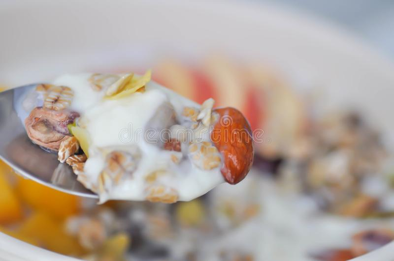 Yogurt with almond ,oat and cereal. Yogurt with almond ,oat ,pistachio and cereal stock photography