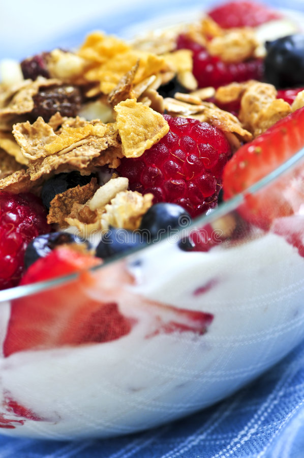 Yogurt with berries and granola. Serving of yogurt with fresh berries and granola stock image