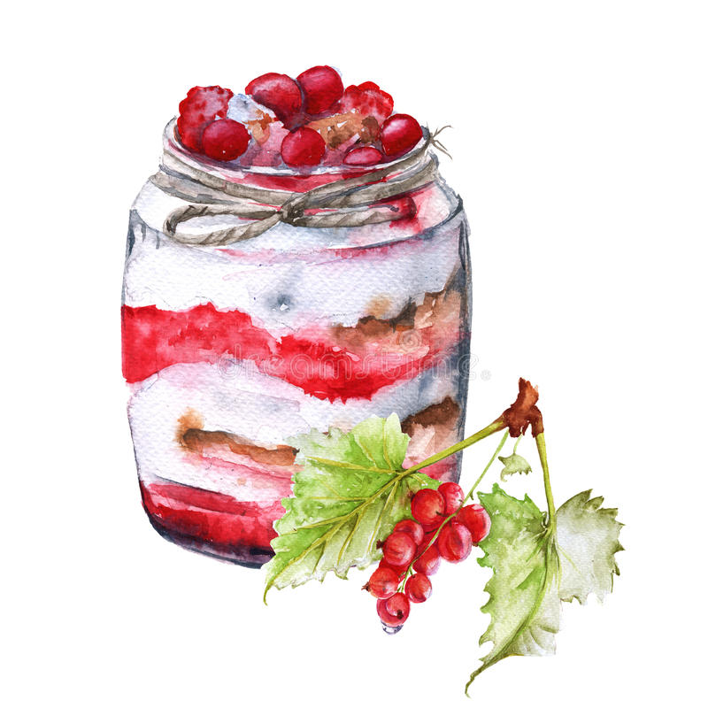 Yogurt with berries and oatmeal. Insulated. Watercolor sketch. vector illustration