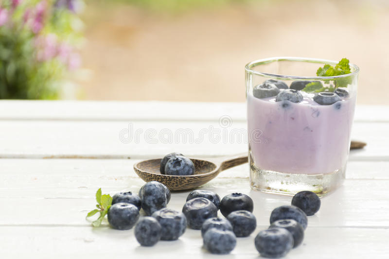 Yogurt Blue Berry and fresh berry on wooden white table on background outdoor view.Close up. royalty free stock photography
